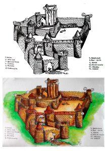 Illustration informative, Chateau Fort Encre et aquarelle